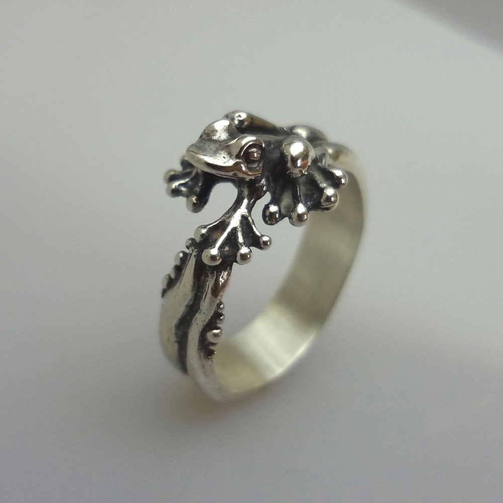 frog ring jewelry silver 14k handmade usa best realistic cute