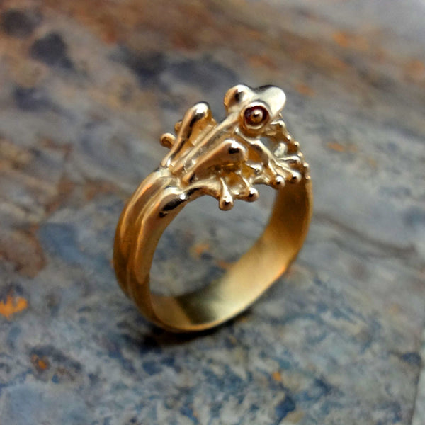 Bubble Frog Ring handmade in Sterling or 14k Gold by Tosa Fine Jewelry