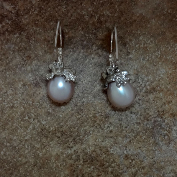 Frog Pearl Earrings handmade in Sterling or 14k gold by Tosa Fine Jewelry