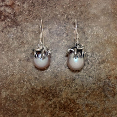frog earrings silver 14k gold pearl dangle