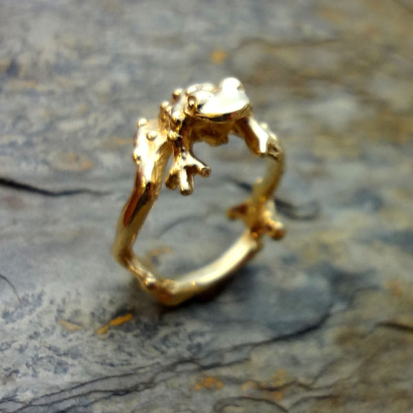 Toad Prince Ring handmade in Sterling or 14k Gold by Tosa Fine Jewelry