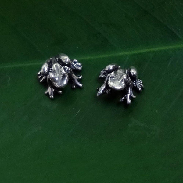 "Frog ""Peeper"" Earrings handmade in Sterling or 14k Gold by All Animal Jewelry"