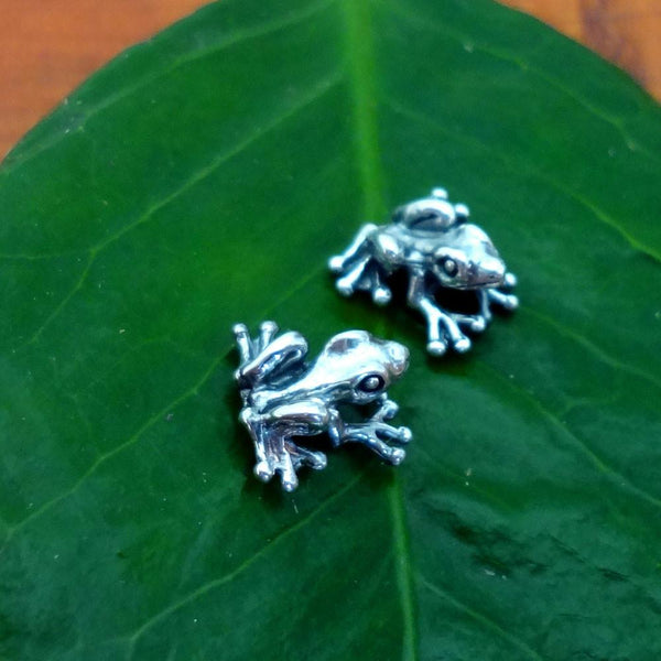Frog Earrings handmade in Sterling or 14k Gold by All Animal Jewelry