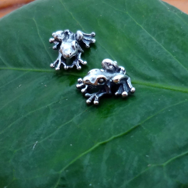 Frog Earrings handmade in Sterling or 14k Gold by Tosa Fine Jewelry
