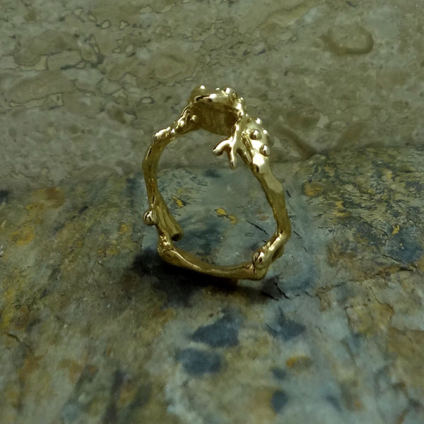Warty Toad Ring - Handmade in 14k Gold or Sterling Silver