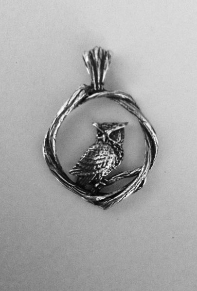 Great Horned Owl, Bramble Pendant - Handmade in 14k Gold or Sterling Silver - Wholesale
