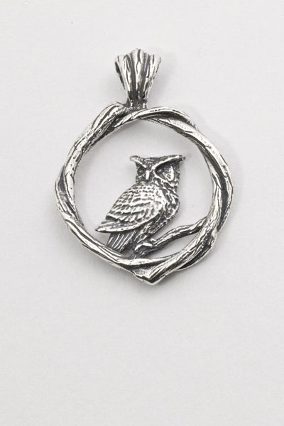 great horned owl pendant, hand made by all animal jewelry