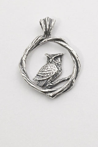 Great Horned Owl, Bramble Pendant - Handmade in 14k Gold or Sterling Silver