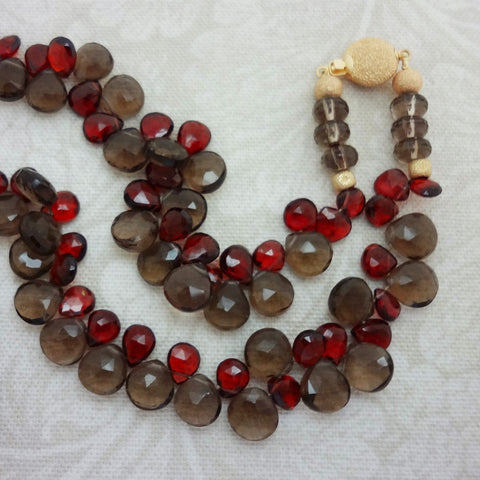 Smokey Quartz Red Garnet necklace 14kt gold clasp stardust beads silk USA