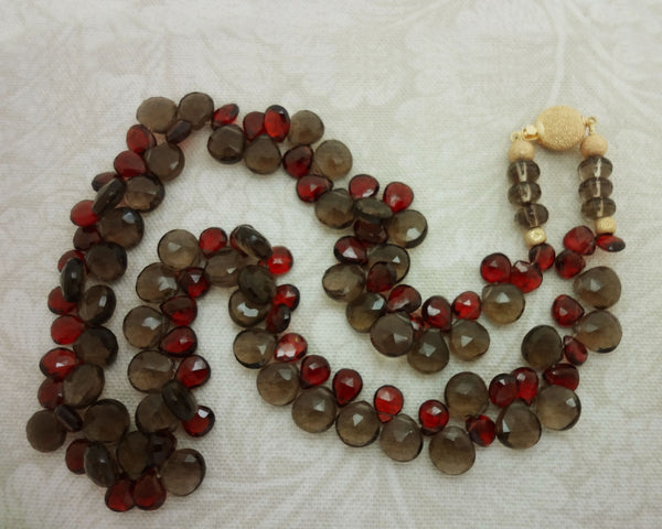 Smokey Quartz Red Garnet strand necklace 14kt gold clasp beads silk USA