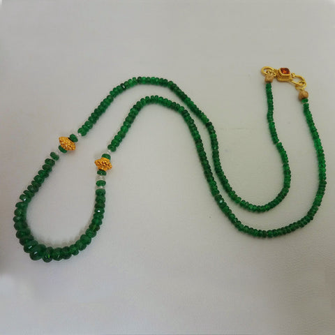 Green Tsavorite Garnet strand 18kt gold pearls necklace silk USA