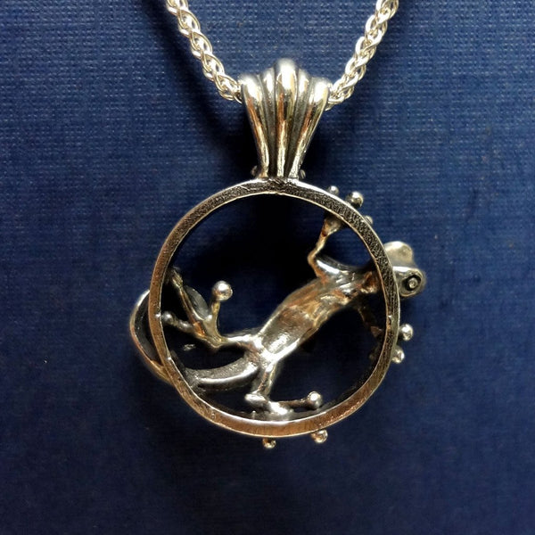 Gecko and Fly Pendant handmade in Sterling or 14k Gold by All Animal Jewelry