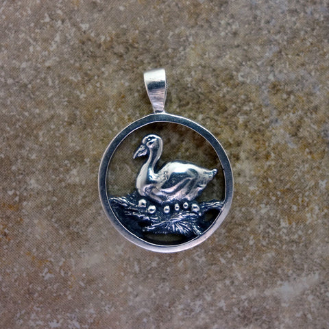 Goose Circle Pendant handmade in Sterling or 14k Gold by Tosa Fine Jewelry