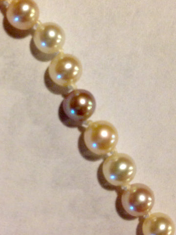 Unusual Strand of Graduated Multicolored Genuine Cultured Pearls