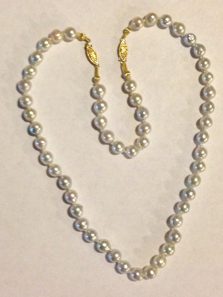 Beautiful Strand of Saltwater Japanese Akoya Cultured Natural Grey Pearls - Adjustable