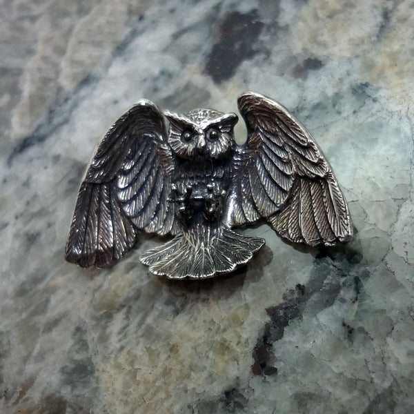 Horned Owl Pendant handmade in Sterling or 14k Gold by All Animal Jewelry
