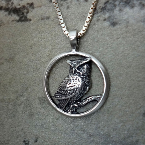 Great Horned Owl Circle Pendant handmade in Sterling or 14k Gold by All Animal Jewelry