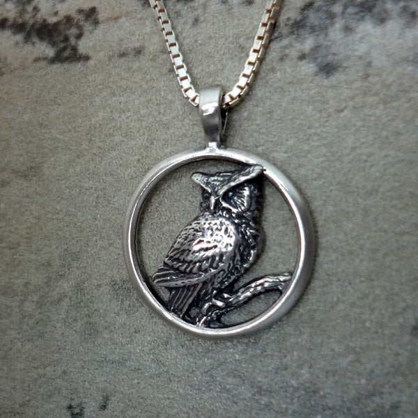 Great Horned Owl, Round Pendant - Handmade in 14k Gold or Sterling Silver