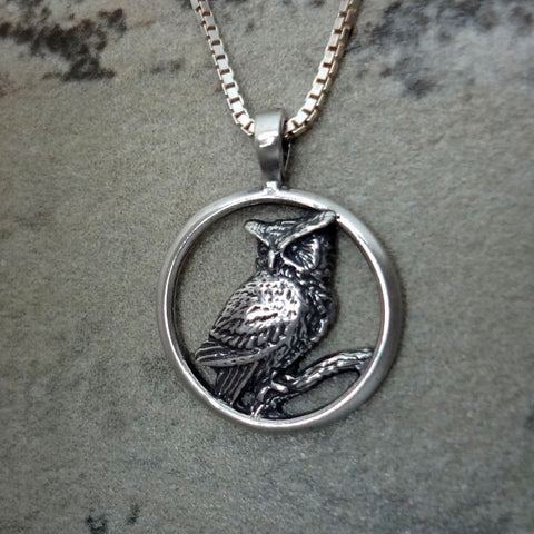 Great Horned Owl Circle Pendant handmade in Sterling or 14k Gold by Tosa Fine Jewelry