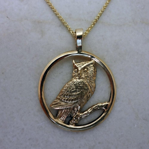 Great Horned Owl Pendant handmade in Sterling or 14k Gold by All Animal Jewelry