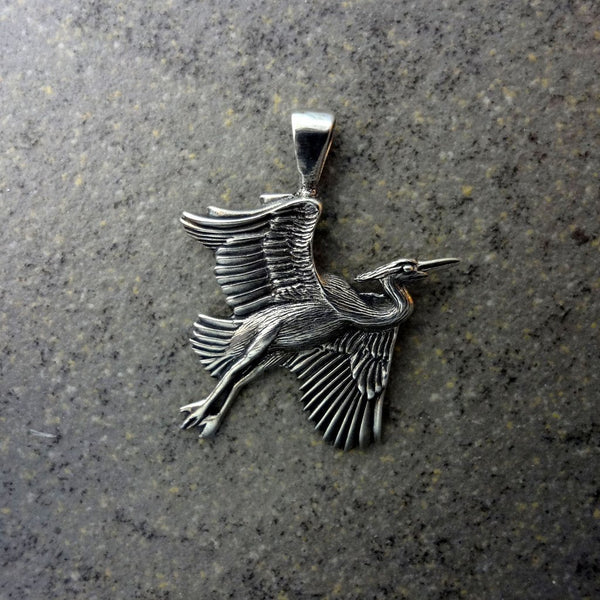 Sterling Silver or 14k Gold handmade Heron Pendant by All Animal Jewelry