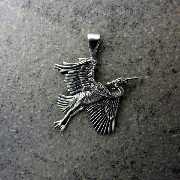 Heron Pendant - Handmade in 14k Gold or Stelring Silver