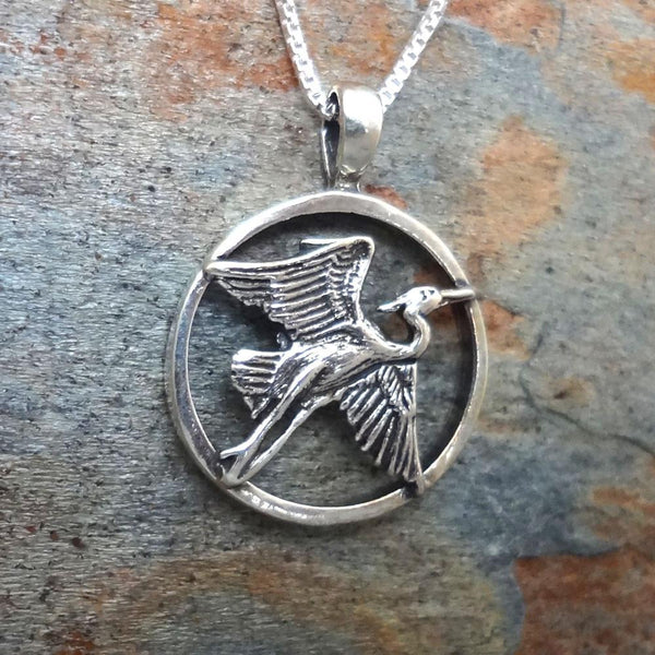 Heron Pendant handmade in Sterling or 14k Gold by All Animal Jewelry