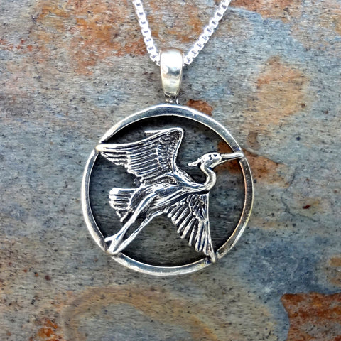 Heron Circle Frame Pendant handmade in Sterling or 14k Gold by Tosa Fine Jewelry