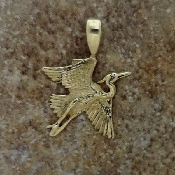 Small Heron Pendant handmade in Sterling or 14k Gold by Tosa Fine Jewelry