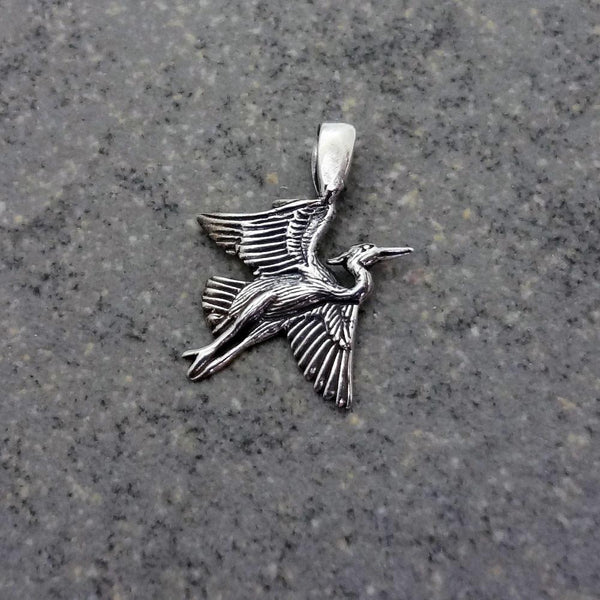 Small Heron Pendant handmade in Sterling or 14k Gold by All Animal Jewelry