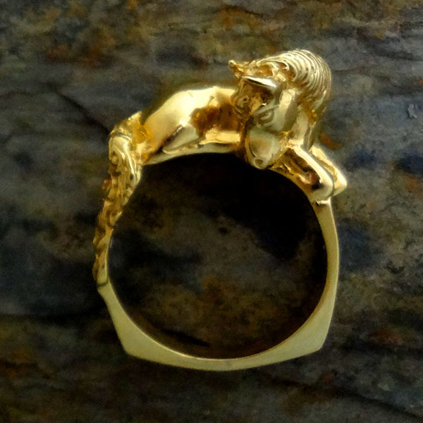 Horse Ring handmade in Sterling or 14k Gold by Tosa Fine Jewelry