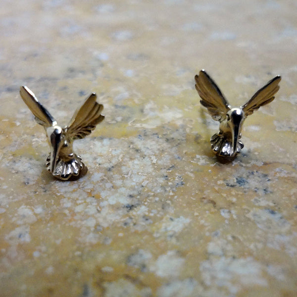 Hummingbird Stud Earrings - Handmade in 14k Gold or Sterling Silver