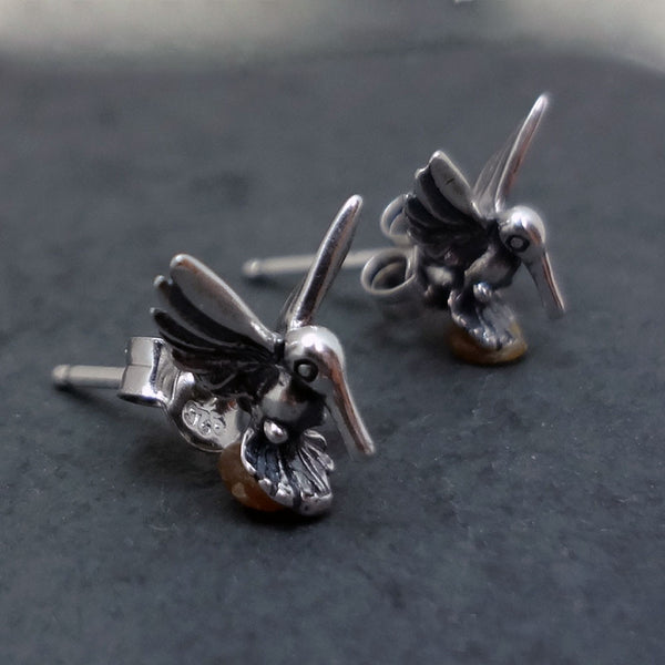 Stud Hummingbird Earrings handmade in Sterling or 14k Gold by Tosa Fine Jewelry