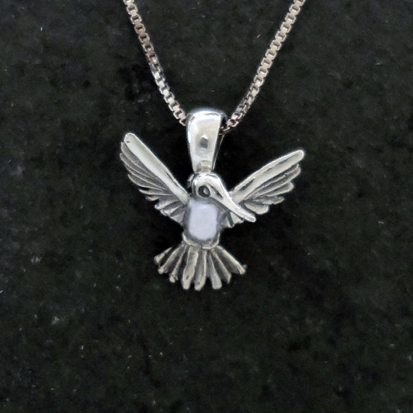 Sterling Silver or 14k Gold handmade Hummingbird Pendant Optional Gem Stone