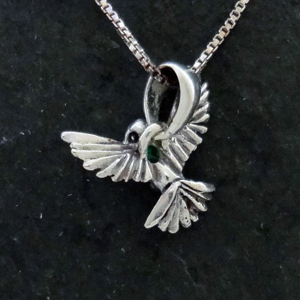 Hummingbird Pendant Optional Gem Stone handmade in Sterling or 14k gold by Tosa Fine Jewelry