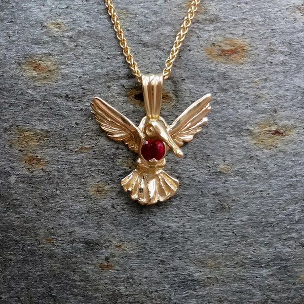 Hummingbird Pendant Optional Gem Stone handmade in Sterling or 14k gold by All Animal Jewelry