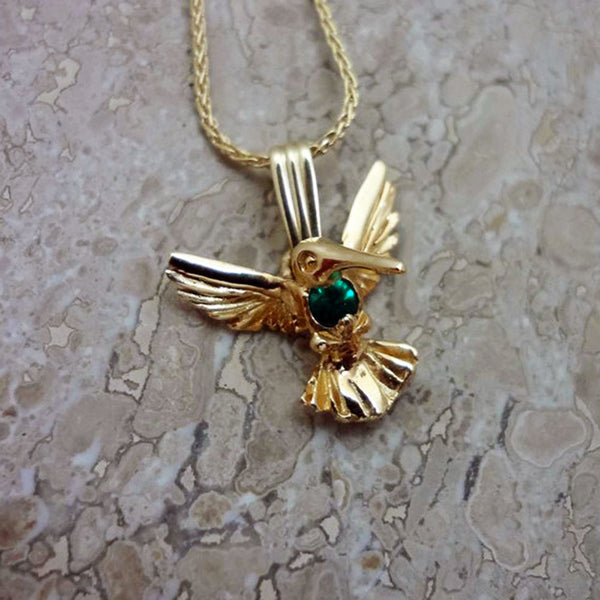 Hummingbird pendant with round 3mm Emerald heart handmade in Sterling or 14k gold by Tosa Fine Jewelry