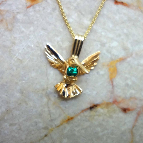 Hummingbird pendant with round 3mm Emerald heart handmade in Sterling or 14k gold by All Animal Jewlery