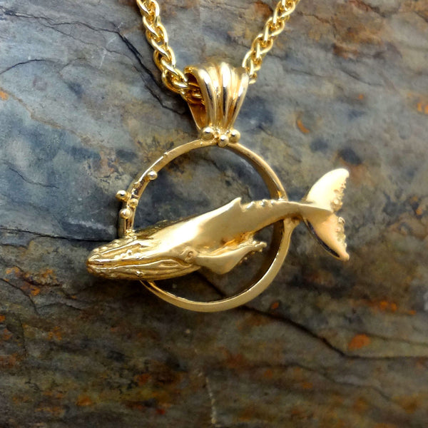 Humpback Whale Circle Pendant handmade in Sterling or 14k Gold by Tosa Fine Jewelry