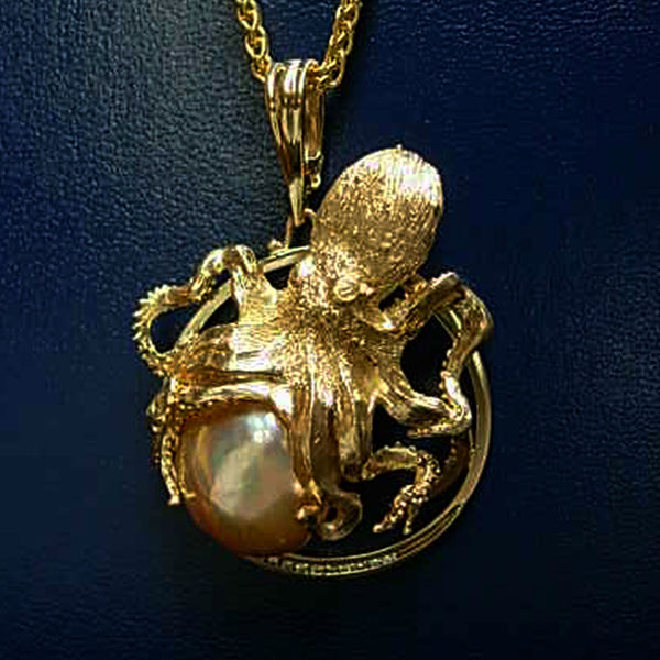 Ishmael, Custom Octopus 18k Gold Pearl handmade by Tosa Fine Jewelry