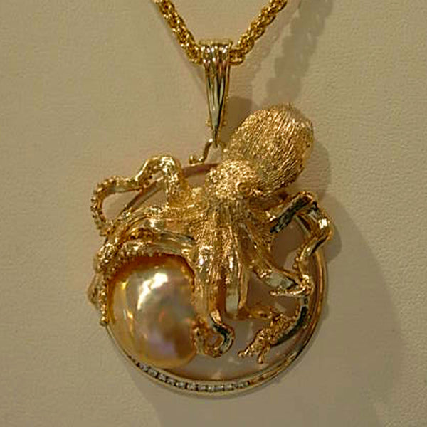 Ishmael, Handmade Custom Octopus Pendant with Pearl, Diamonds, 18 and 14k Gold