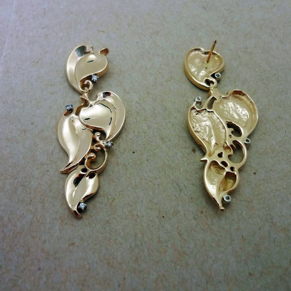 Ivy Dangle Earrings handmade in Sterling or 14k Gold by All Animal Jewelry