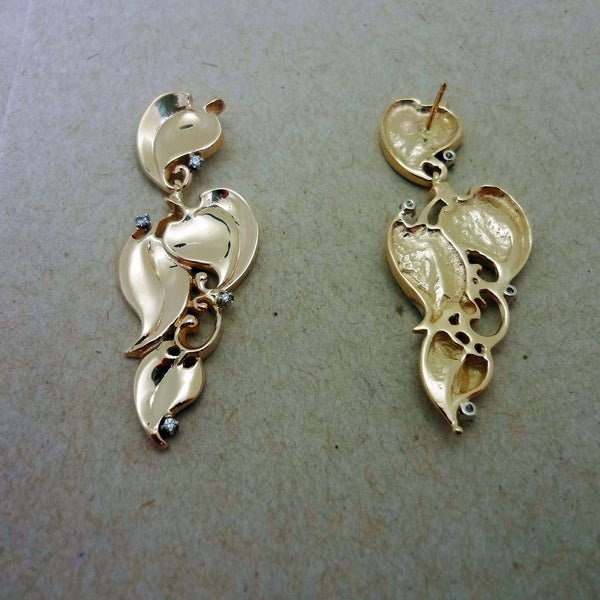 Ivy Dangle Earrings handmade in Sterling or 14k Gold by Tosa Fine Jewelry