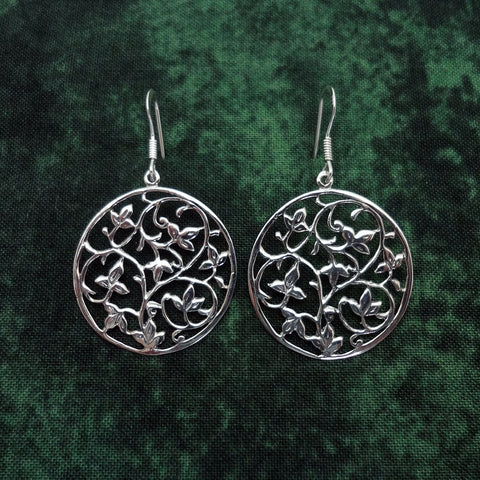 Ivy Vine Earrings handmade in Sterling or 14k gold by Tosa Fine Jewelry
