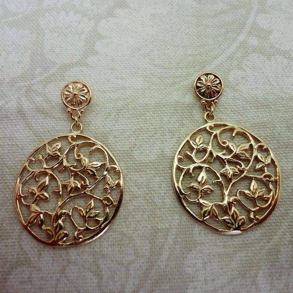 Ivy Vine Earrings handmade in Sterling or 14k gold by All Animal Jewelry