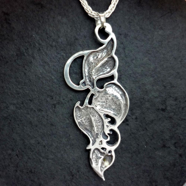 Sturbridge Leaf Pendant handmade in Sterling or 14k Gold by All Animal Jewelry