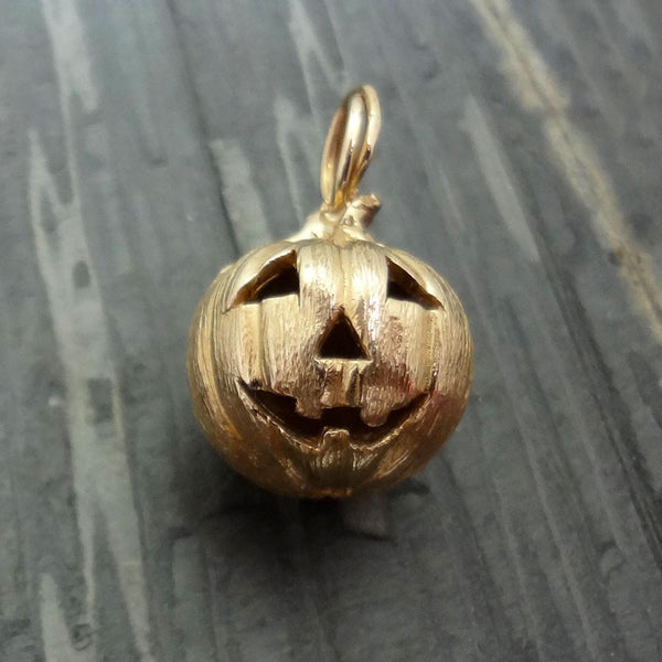 Halloween Jack-O-Lantern Pumpkin Pendant handmade in Sterling or 14k gold by All Animal Jewelry
