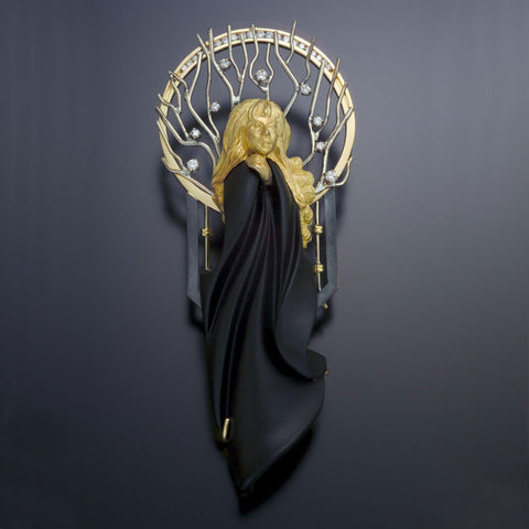 Jai Froid, Custom lady 18k Gold, Black Jade, Diamonds, silver, pin brooch USA