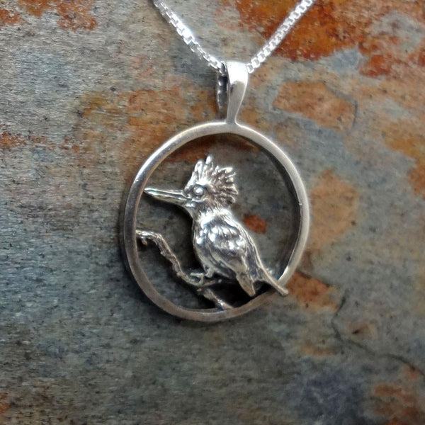 Kingfisher Pendant handmade in Sterling or 14k Gold by All Animal Jewelry