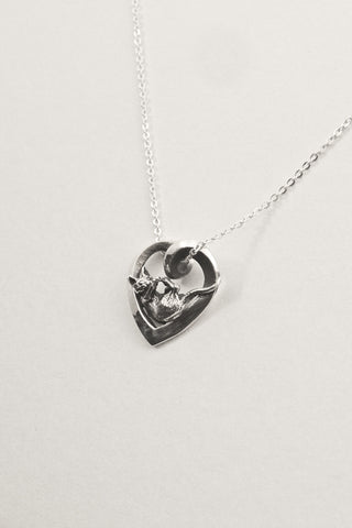 Kitty Cat Love Heart Pendant - Handmade in Sterling Silver or 14k Gold